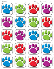 Colorful Paw Prints Stickers
