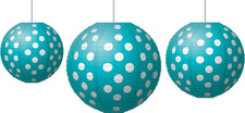 Paper Lanterns, Teal Polka Dots