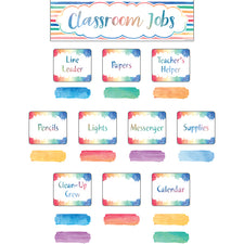 Watercolor Classroom Jobs Mini Bulletin Board Set