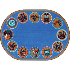 "The Circle™ Classroom Seating Rug, 5'4"" x 7'8"" Oval"