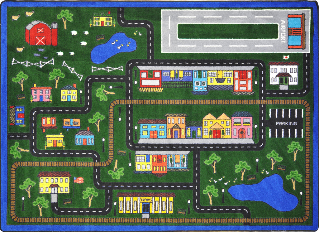 "Tiny Town© Kid's Play Room Rug, 5'4"" x 7'8"" Rectangle Multi"