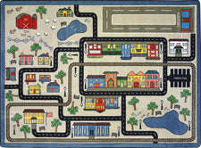 "Tiny Town© Kid's Play Room Rug, 5'4"" x 7'8"" Rectangle Pewter"