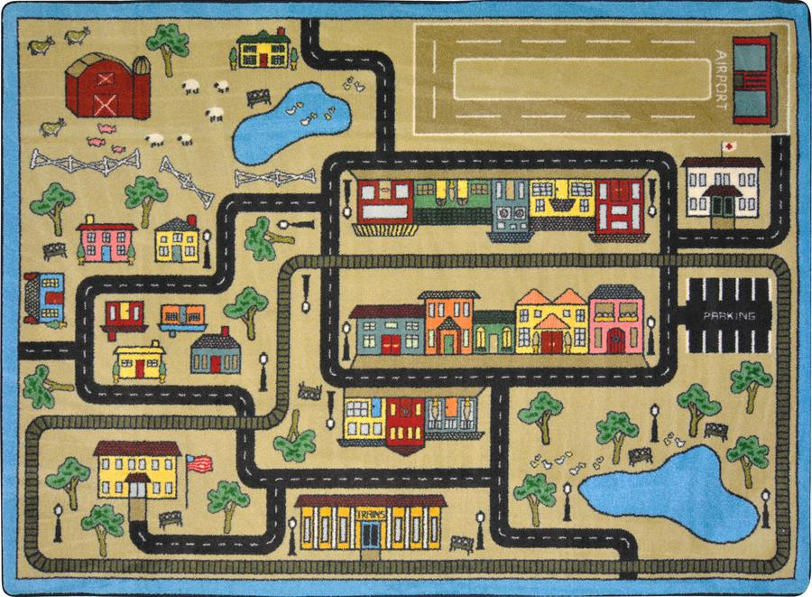 "Tiny Town© Kid's Play Room Rug, 5'4"" x 7'8"" Rectangle Sandstone"