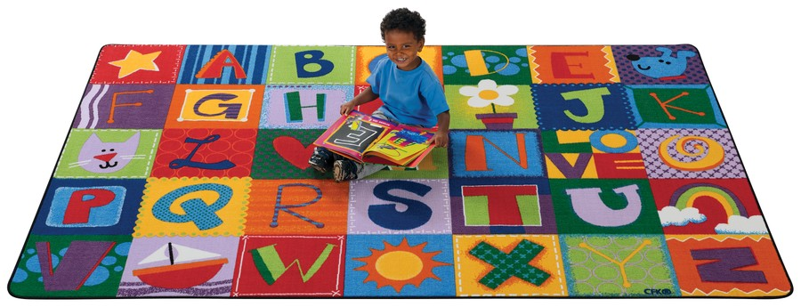 KIDSoft™ Toddler Alphabet Blocks Classroom Rug, 4' x 6' Rectangle