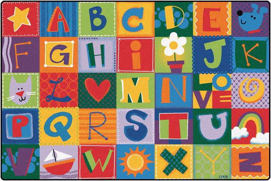 KIDSoft™ Toddler Alphabet Blocks Classroom Circle Time Rug, 6' x 9' Rectangle