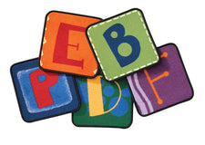 Colorful Toddler Alphabet Blocks KID$ Value PLUS Discount Carpet Squares, Set of 26