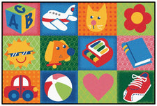 Toddler Fun Squares KID$ Value Discount Classroom Carpet, 4' x 6' Rectangle