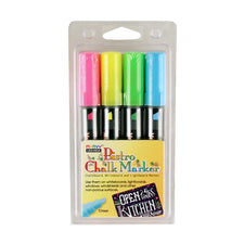 Bistro Fluorescent Chisel Tip Chalk Markers, Set of 4