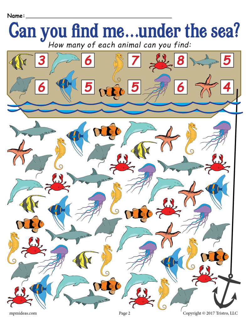 picture relating to I Spy Pages Printable named Underneath the Sea I Spy - No cost Printable Ocean Themed Counting