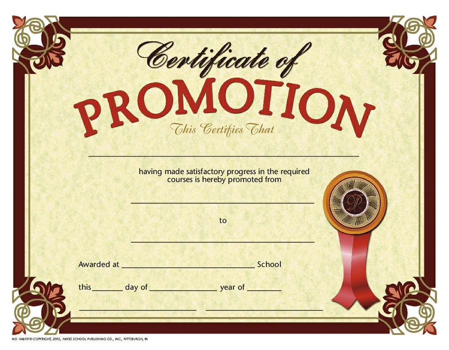 Certificate of Promotion 2