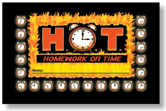 H.O.T. (Homework on Time)  Punch Cards