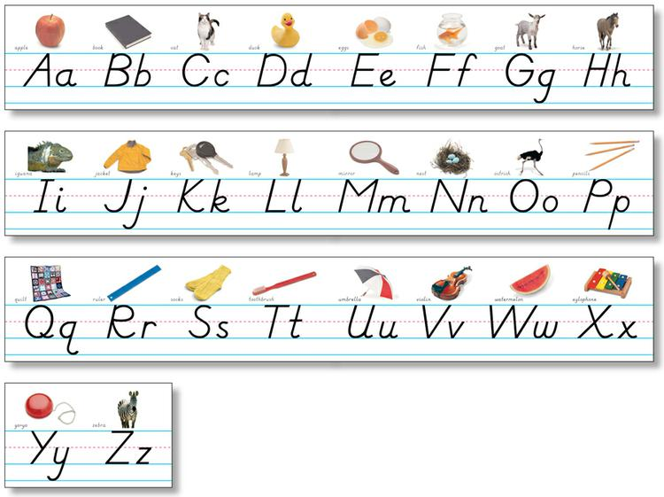 Alphabet Lines - Modern Manuscript with Pictures