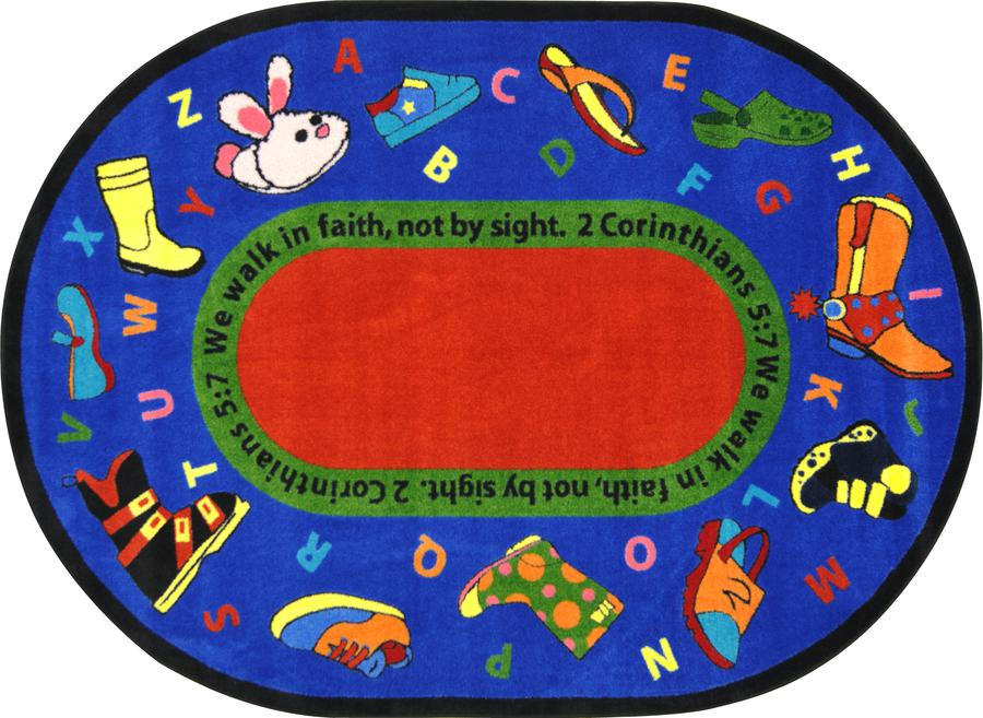 "Walk In Faith© Alphabet Classroom Rug, 3'10"" x 5'4""  Oval"