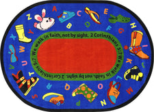"Walk In Faith© Alphabet Classroom Rug, 7'8"" x 10'9""  Oval"