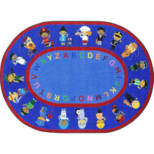 "We Work Together™ Classroom Seating Rug, 7'8"" x 10'9"" Oval"