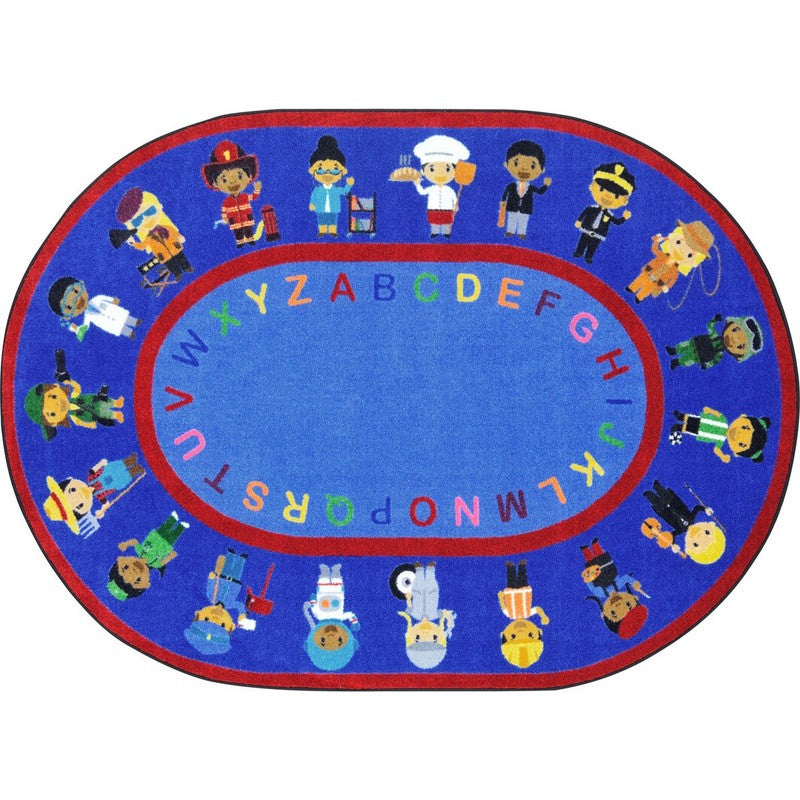 "We Work Together™ Classroom Seating Rug, 5'4"" x 7'8"" Oval"