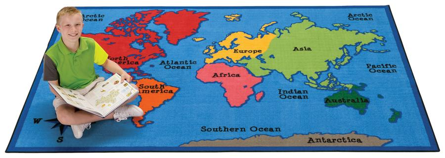 World Map KID$ Value PLUS Discount Rug, 8' x 12' Rectangle