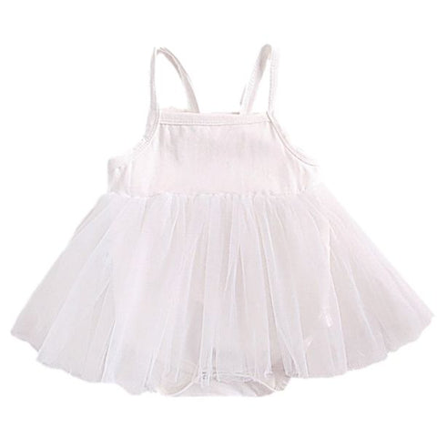 Barboteuse Robe Ange en Tulle Blanc