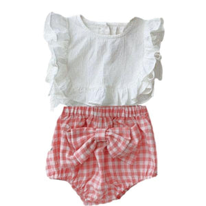 Ensemble Blouse et Bloomer Vichy Rose