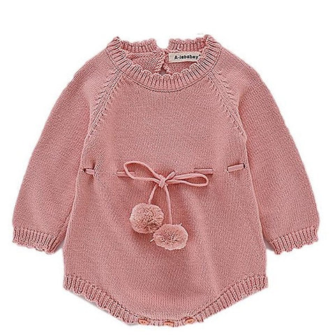 Image of Barboteuse Pompon en Tricot Rose