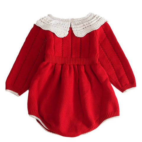 Image of Barboteuse en Tricot Rouge