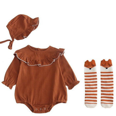 Image of * VENTE FLASH * Barboteuse Col Volant, Bonnet, et Chaussettes -30%