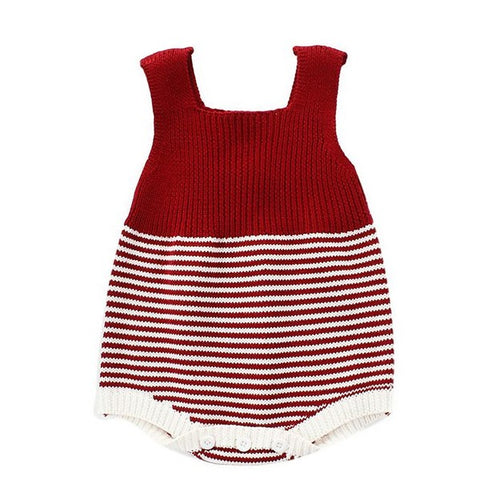 Barboteuse Rayures en Tricot Rouge