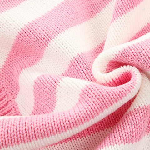 Image of Barboteuse Rayures en Tricot Rose