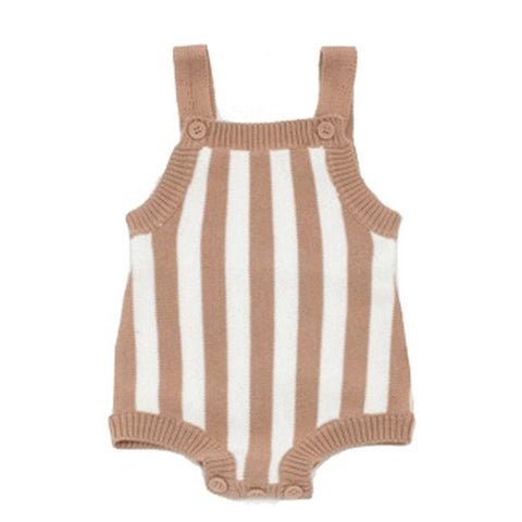 Barboteuse Rayures en Tricot Beige