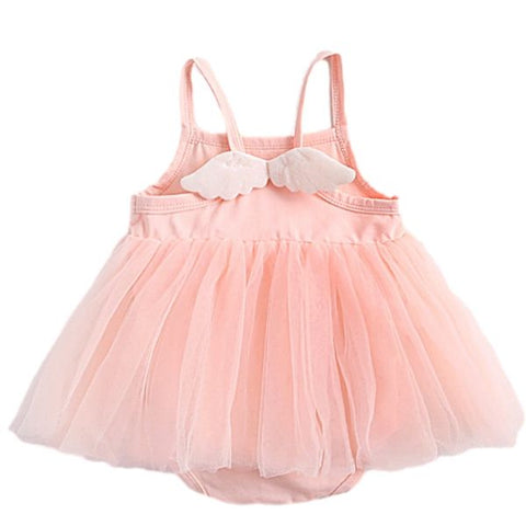 Image of Barboteuse Robe Ange en Tulle Rose