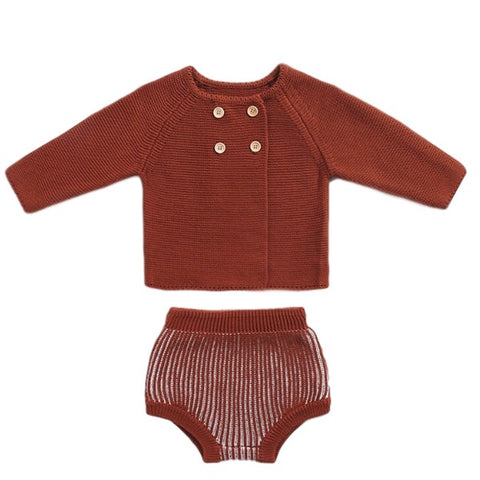 Gilet et Bloomer en Tricot Marron