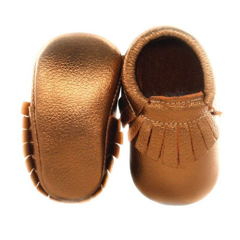 Image of Mocassins Dorés en Cuir Marron -30%