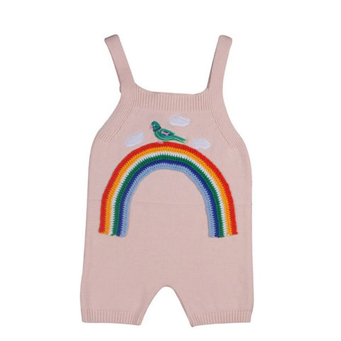 Salopette Short Arc en Ciel en Tricot Rose