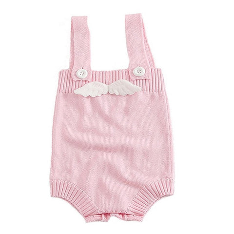 Barboteuse Ailes d'Ange en Tricot Rose -30%