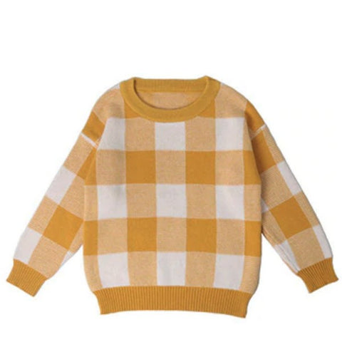Pull Carreaux Jaune