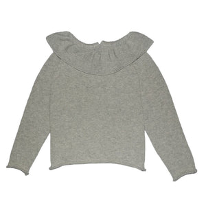 Pull Col Boule Gris