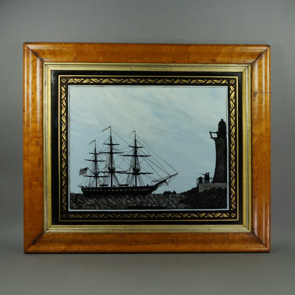 Antique Reverse-Painted Glass Picture Ship Silhouette USS ...