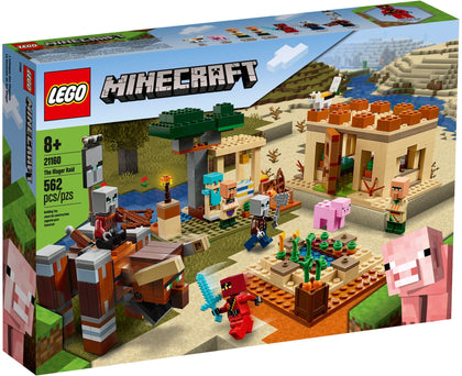 LEGO - Minecraft - The Illager Raid - Desert House, Trading Post, Field with Crops, 7 Figures (21160)