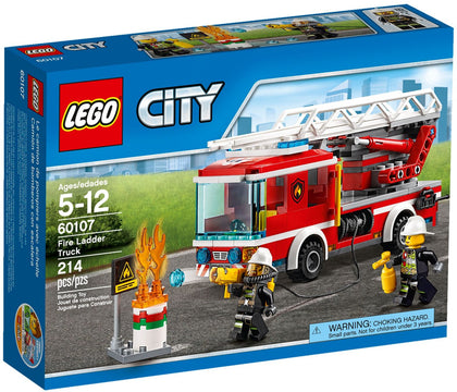 LEGO - City - Fire Ladder Truck + Oil Barrel & Flames + 2 Minifigures (60107)
