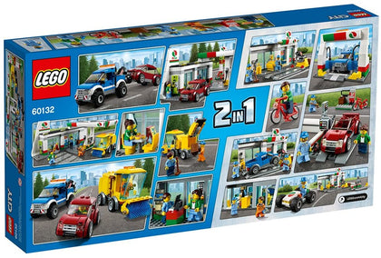 LEGO - City - 2 in 1 - Gas / Service Station + Car Wash + Street Sweeper + Truck + Buggy + Convertible + 4 Figures (60132)