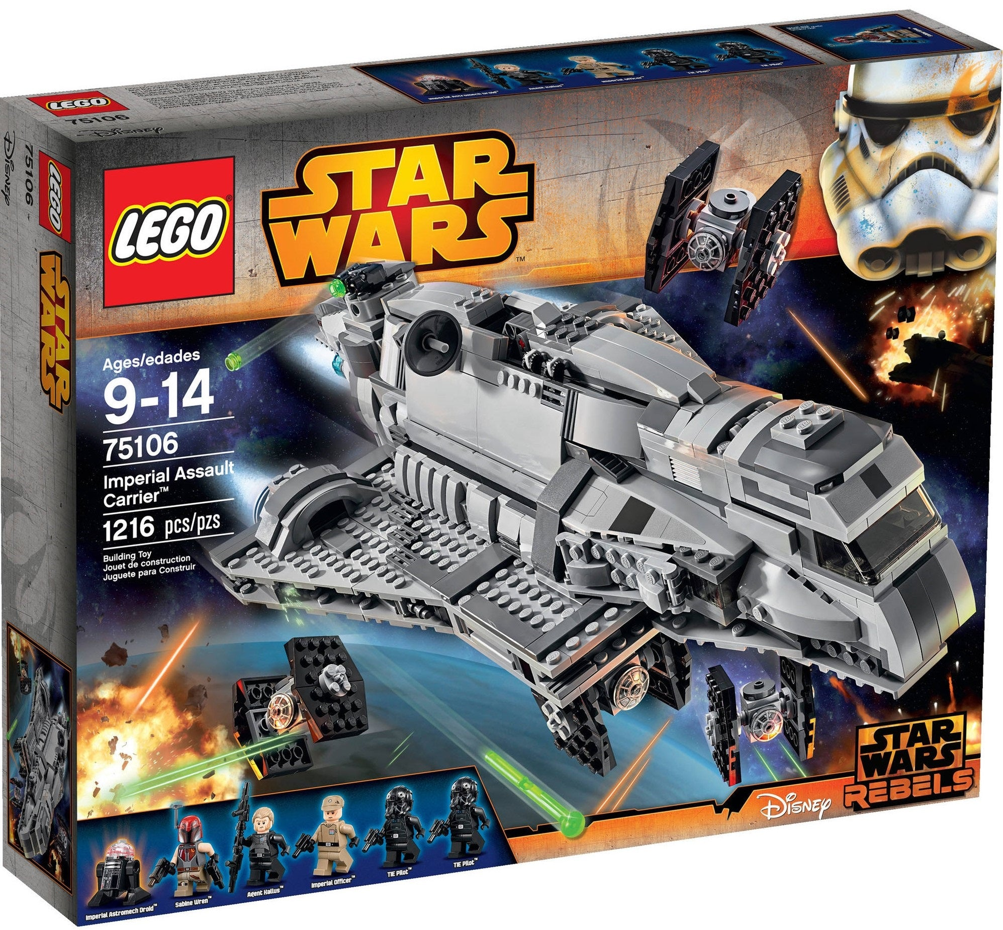 LEGO - Star Wars Rebels - Imperial Assault Carrier + 4 Mini TIE Fighters + 7 Minifigures (75106)