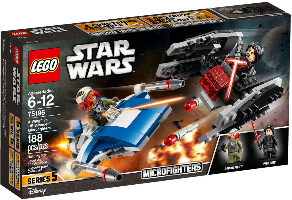 LEGO Star Wars The Last Jedi 75196 A-Wing vs. TIE Silencer Microfighters (2-Pack Set)