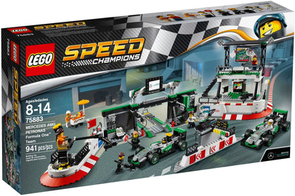 LEGO - Speed Champions - Mercedes AMG Petronas Formula One Team - 2 F1 W07 Hybrid Racing Cars + Pit Garage + Grandstand (75883)