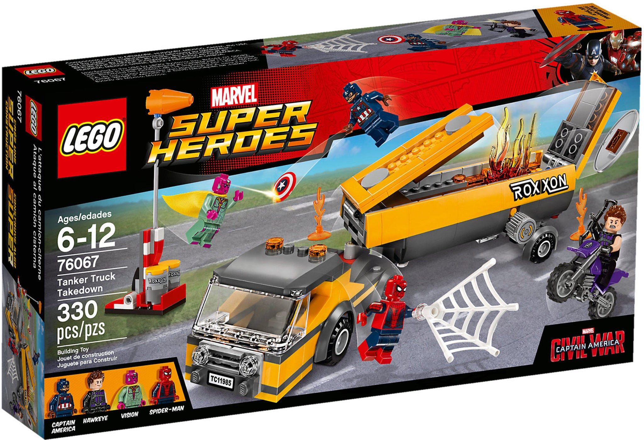 LEGO - Marvel Super Heroes - Captain America: Civil War - Tanker Truck Takedown + Wind Sock + Motorbike + 4 Minifigures (76067)
