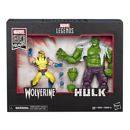 Marvel Legends - Marvel 80 Years - Wolverine vs Hulk Action Figures (E6349)