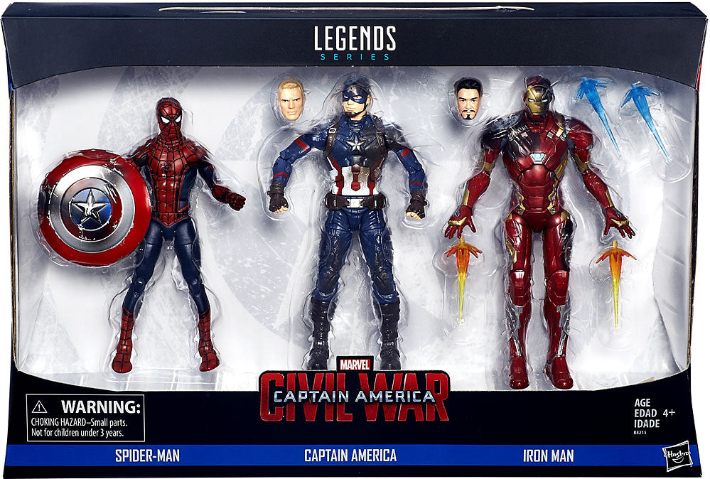 Marvel Legends - Captain America: Civil War 3-Pack - Spider-Man, Captain America & Iron Man