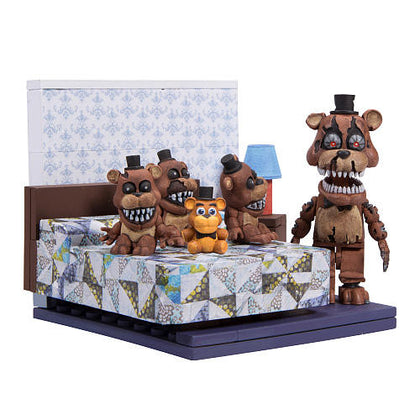 McFarlane Construction Set - Five Nights at Freddy's 4 - The Bed + Nightmare + Plush + 3 Freddies Figures (12038)