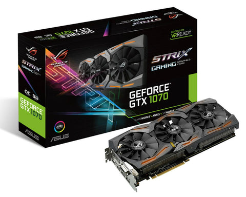 Hire the Asus GeForce GTX 1070 8G ROG Strix Gaming OC - Box