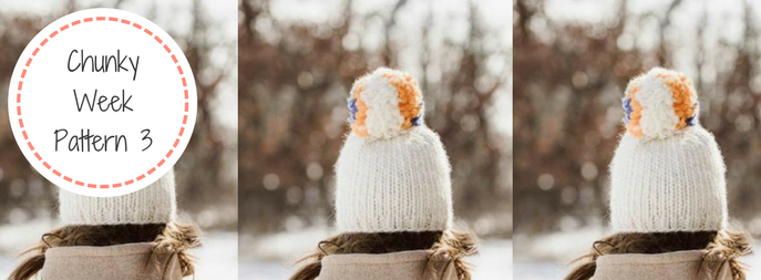 Chunky Knitted 'Big Pom' Hat FREE Pattern