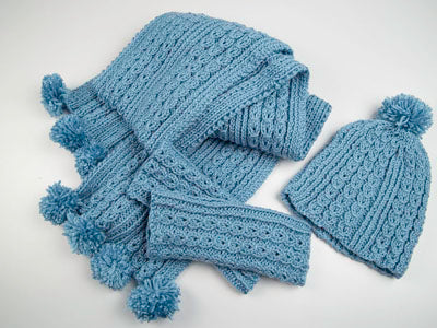 Wrist Warmers, Hat and Scarf by Sarah Murray in Deramores Studio Aran